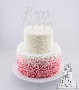Pink Ombre Ruffle and White Sprinkles on Fondant
