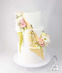 Fondant with Gold Leaf and Flowers