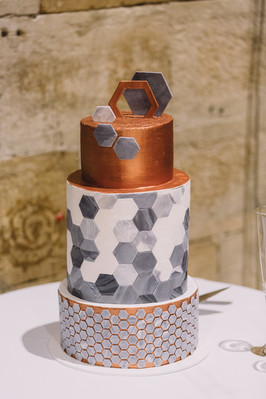 Hexagonal Marble Tiles with Copper
