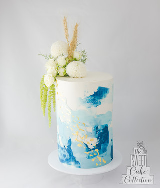 Textured Buttercream with Gold Leaf and Flowers