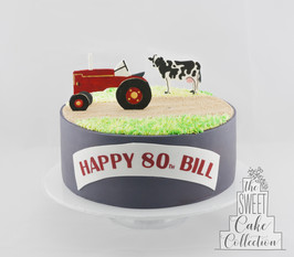 Farm Theme on Fondant with Painted 2D Toppers