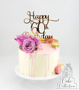 Pink Drip with Flowers and Macarons