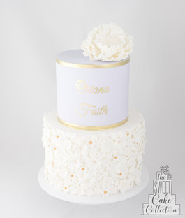 Fondant with Sugar Flowers and Hand Painted Name