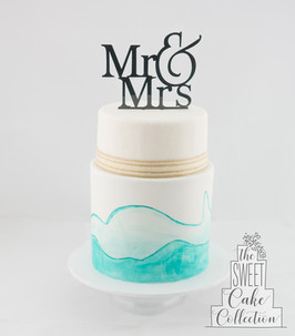 Painted Waves of Blue on White Fondant