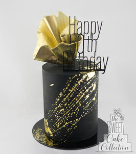 Black Ganache with Gold Splatter and Chocolate Sail