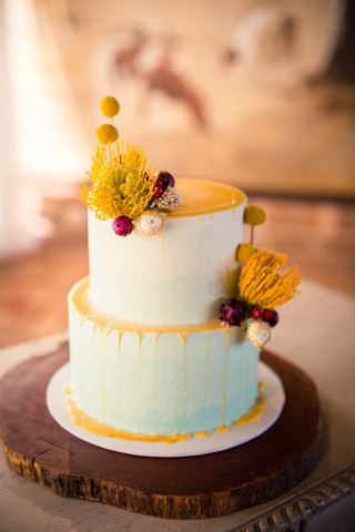 Ombre Blue Buttercream with Drip and Flowers