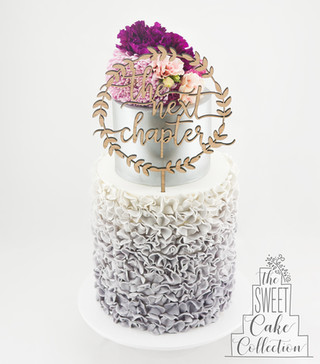 Grey Ombre Fondant Ruffles with Flowers
