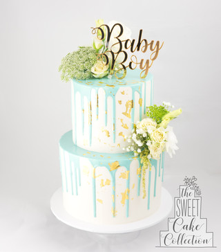 Baby Shower with Blue drip and Flowers