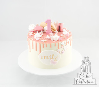 Smooth Buttercream with Drip, Macarons and Painted Name Plaque