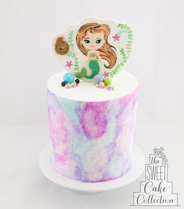 Watercolour Mermaid Theme on Fondant with Painted 2D topper