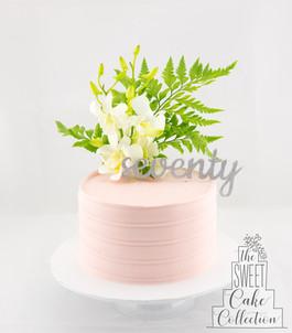 Pink Textured Ganache with Flowers