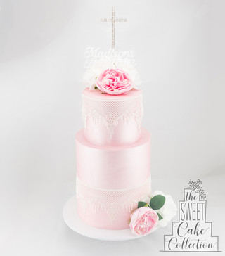 Pink Fondant with Lace and Flowers