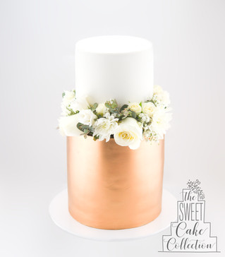 Rose Gold and White Fondant with Flowers