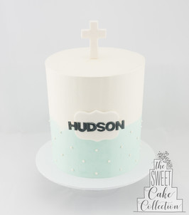 Blue and White Buttercream with White Dots and Name Plaque