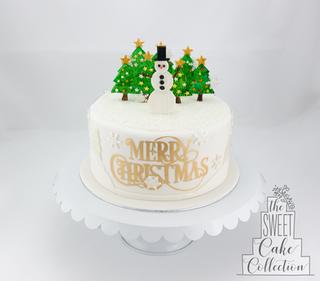 Snowman and Christmas Trees on Fondant