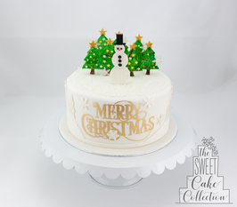Snowman and Christmas Trees on Fondant