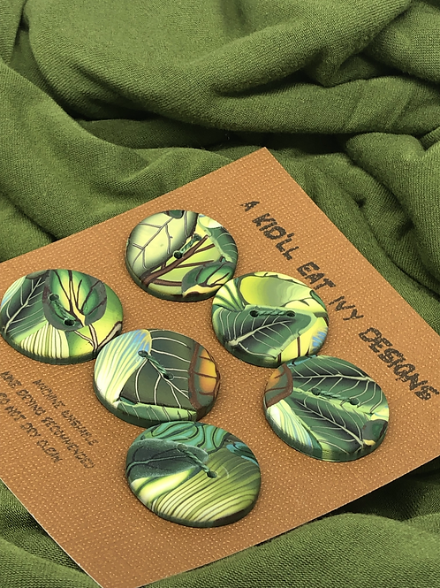 Green leaf buttons, set of 6 large