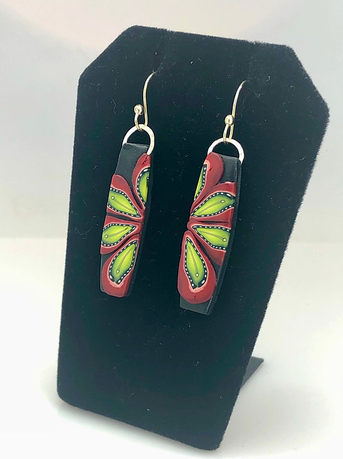Red daisies drop earrings