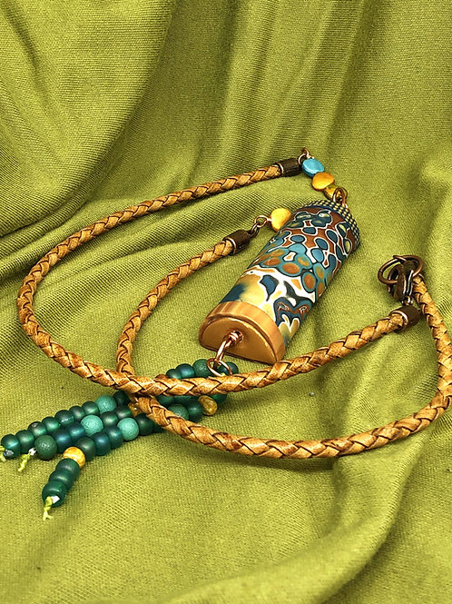 Teal and gold cylinder bead