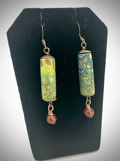 Green cylinders earrings