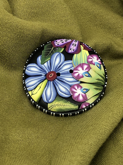Blue petals applique button