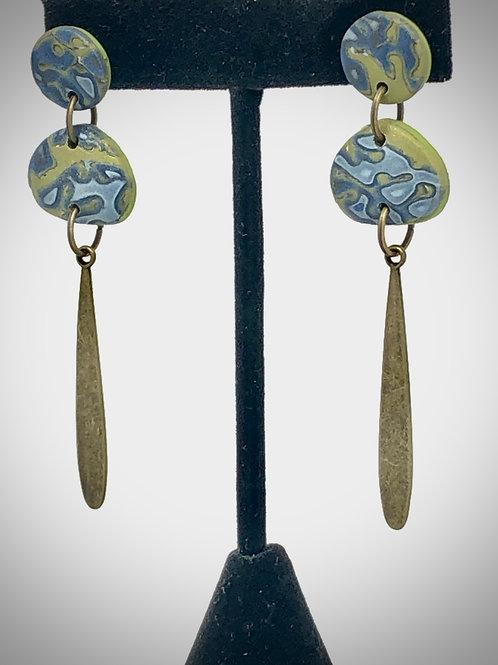 Green blue drop earrings