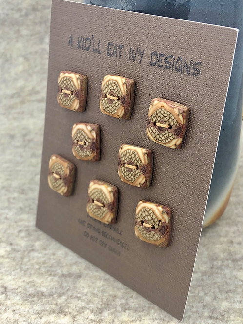 Little brown buttons set of 8