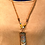 Thumbnail: Teal and gold cylinder bead