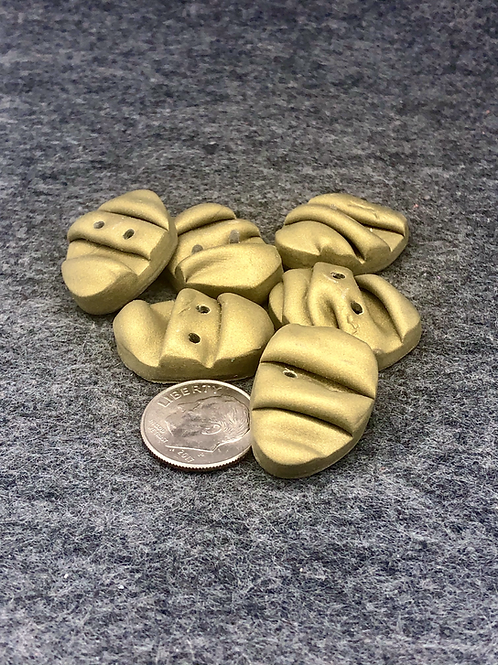 Olive metallic pleated buttons