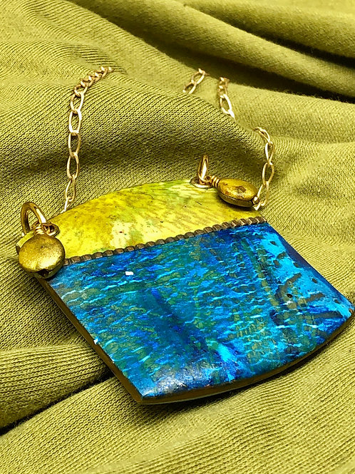 Blue silkscreened pendant