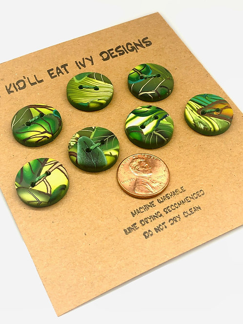 Green leaves set of 7