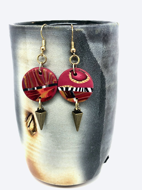 Red graphic earrings