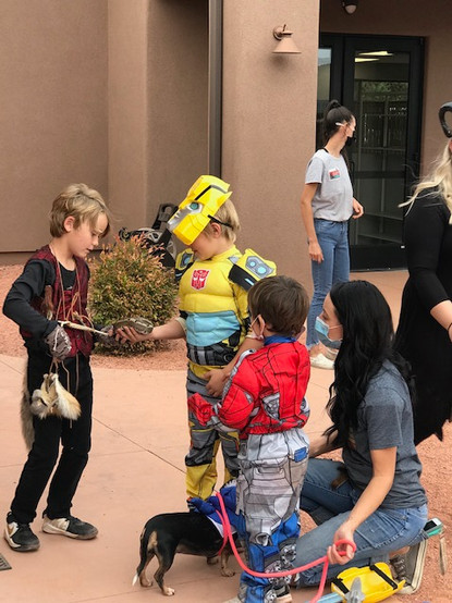 The children in full costume and having a wonderful time