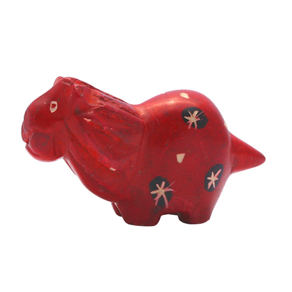 Handcrafted Red Lion Soapstone Carving