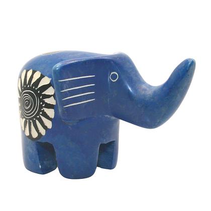 Large Handcrafted Blue Soapstone Elephant Carving