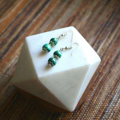 Malachite Triple Drop Earrings
