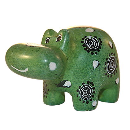 Handcrafted Green Hippo Soapstone Carving