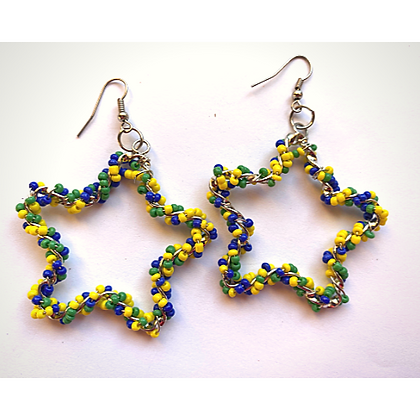 Yellow Blue Green Beaded Star Earrings
