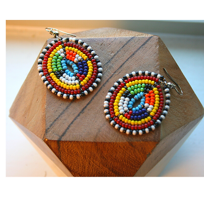 Beaded Round Multi-color Earrings