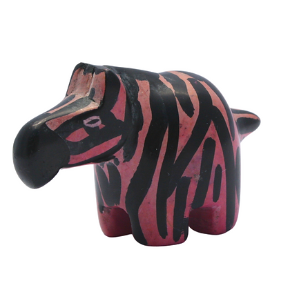 Small Handcrafted Pink Zebra Soapstone Carving