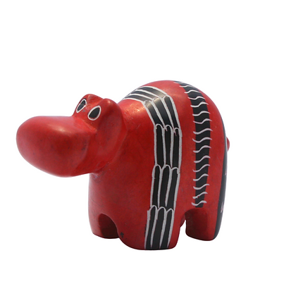 Handcrafted Red Hippo Soapstone Carving