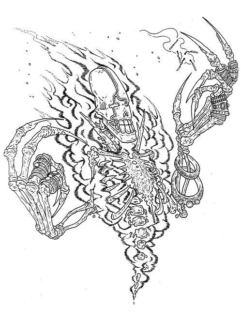 Fire Skull Colouring Sheet