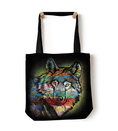 Painted Wolf Shopping Bag