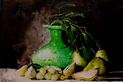Green Vase with Pears
