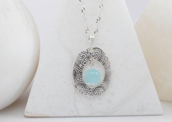 Aquamarine and Fine Silver