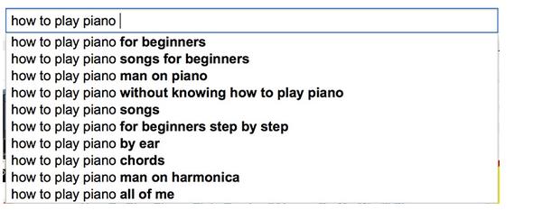 YouTube搜索自动建议:长尾关键词。