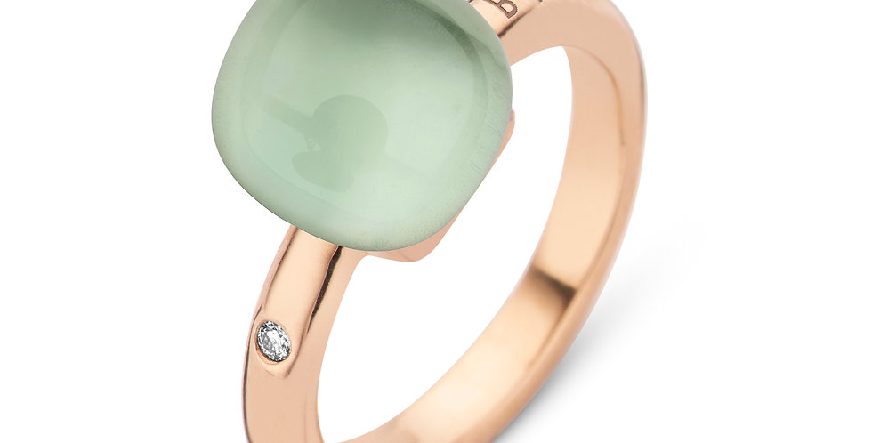 Bigli Mini Sweety Ring met prasiolite en parelmoer