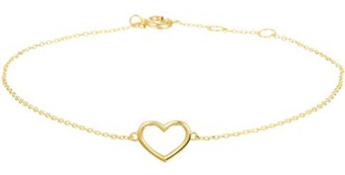 14 krt. Geelgouden armband met open hartje