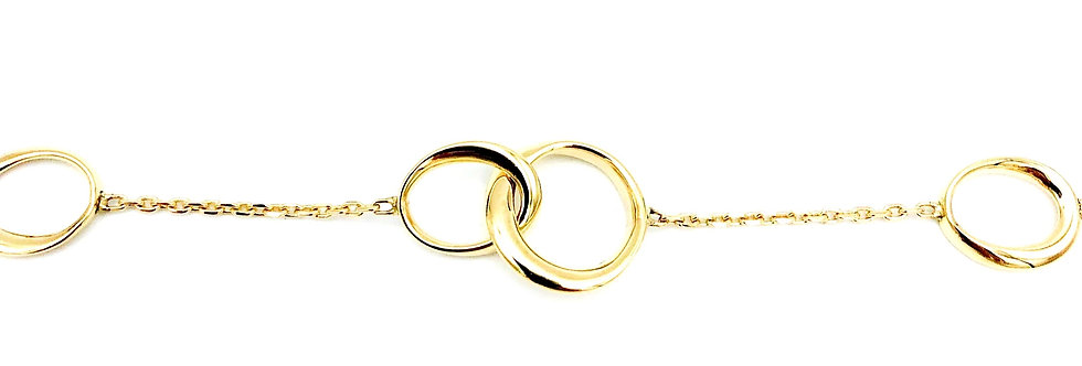 14 krt. Geelgouden ankerschakel armband met 4 open ovaalvorm tussenstukjes