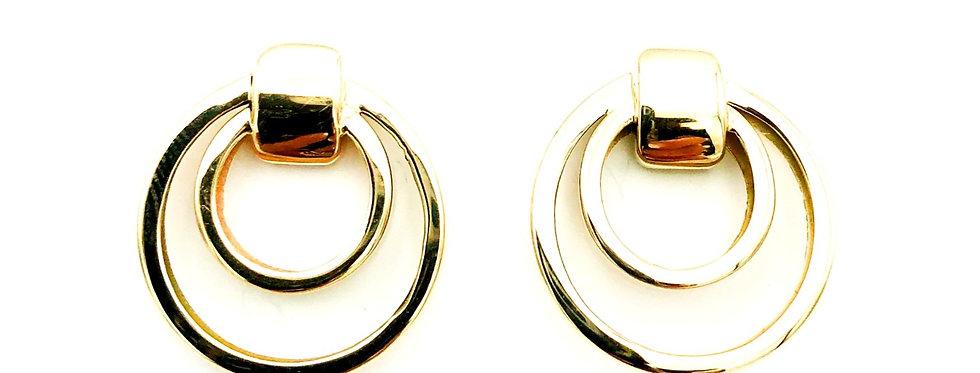 14 krt. Geelgouden oorknoppen cirkel in cirkel